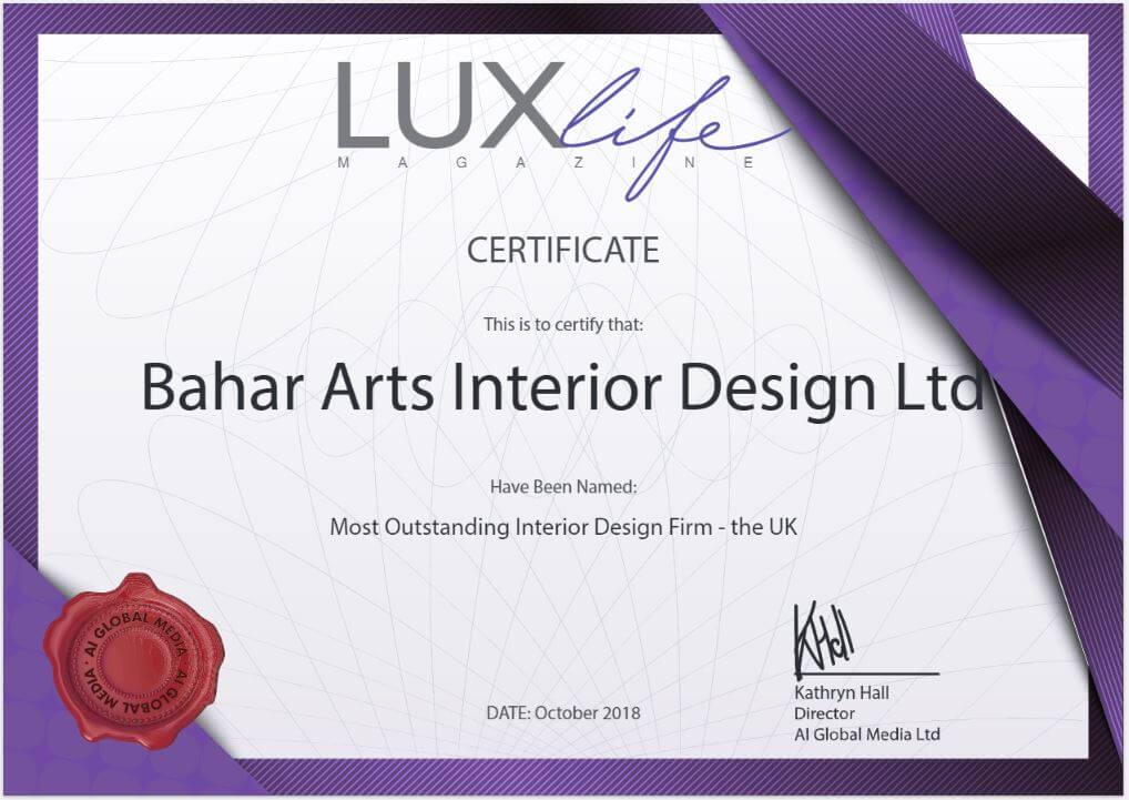 Lux Life Magazine Awards 2018 Uk Bahar Interiors